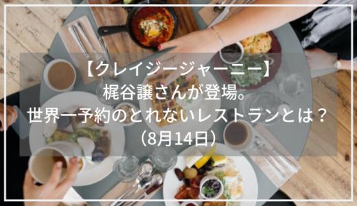 【クレイジージャーニー】ハーブ職人・梶谷譲さんが登場。梶谷さん訪問のnomaの料理とは?(8月14日)