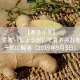【あさイチ】しょうが(生姜)ダイエット。夏の疲れも一気に解消(2019年9月3日)