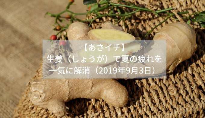 【あさイチ】生姜(しょうが)で夏の疲れを一気に解消(2019年9月3日)
