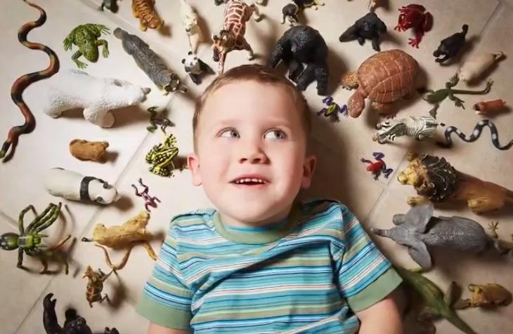 写真で一言「動物に囲まれる子ども」